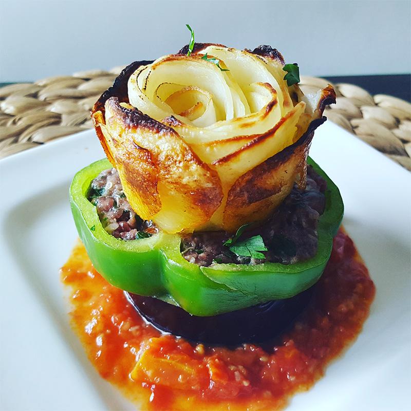 Kafta, Pepper and Eggplant Stacker